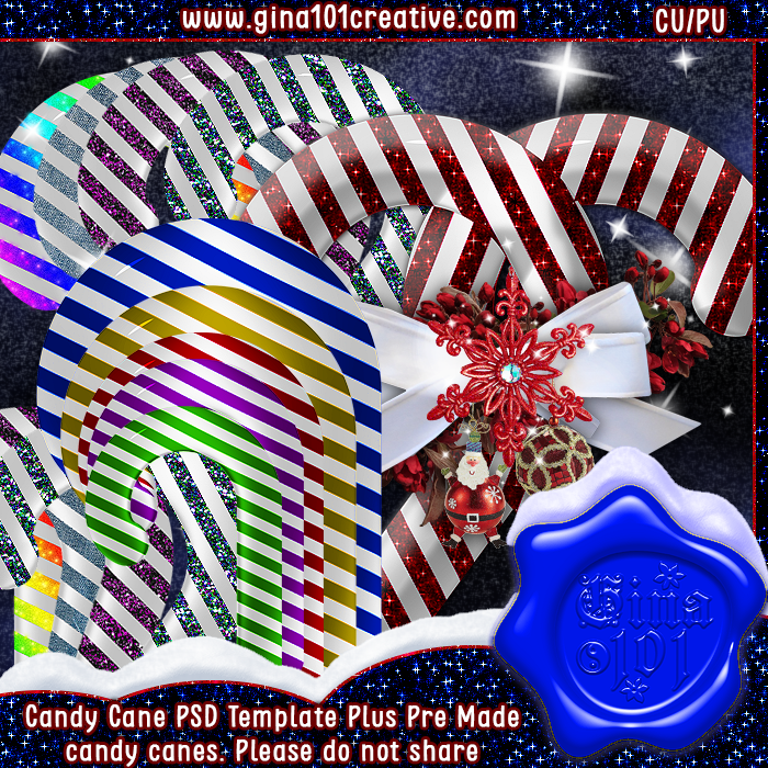 Christmas Candy Cane PSD Template And Pre Made Designs